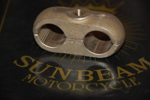 Handlebar clamps for Sunbeam motorcycles with Druid rather than the later Webb-type forks.